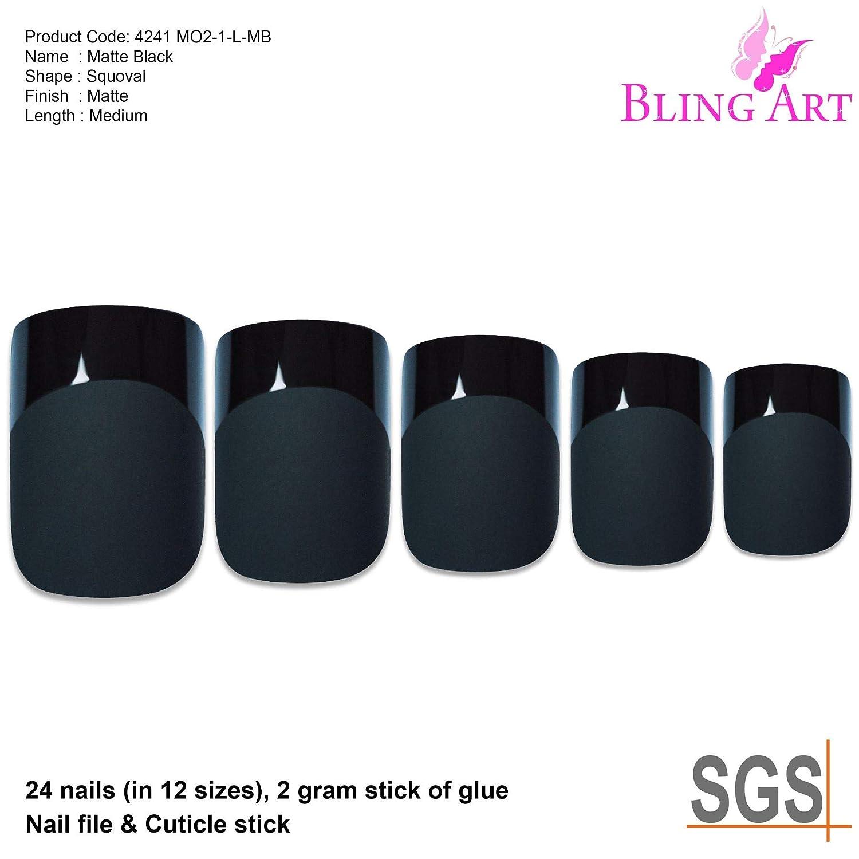 Uñas Postizas Bling Art Negro Matte 24 Squoval Medio Falsas puntas acrílicas con pegamento: Amazon.es: Belleza