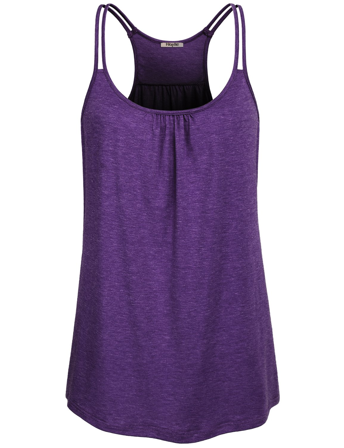 Hibelle Womens Sportswear, Ladies Sleeveless Summer Stretchy Yoga Tank Tops Sports Shirts Scoop Neck Flowy Curved Hem Trendy Pretty Front Ruched Tunic Racerback Workout Top Purple Small
