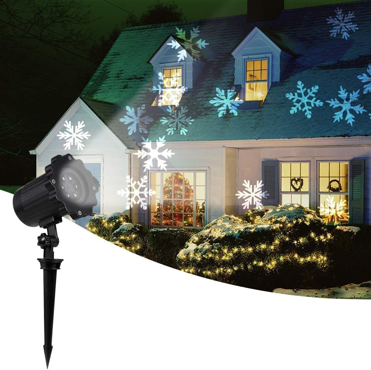 2020 New Moving Snowflake Lights, White Christmas Projector Lights LED Landscape Projection, Indoor Outdoor Spotlights Decor Stage Irradiation Garden Tree Wall, Perfect Halloween Holiday Party