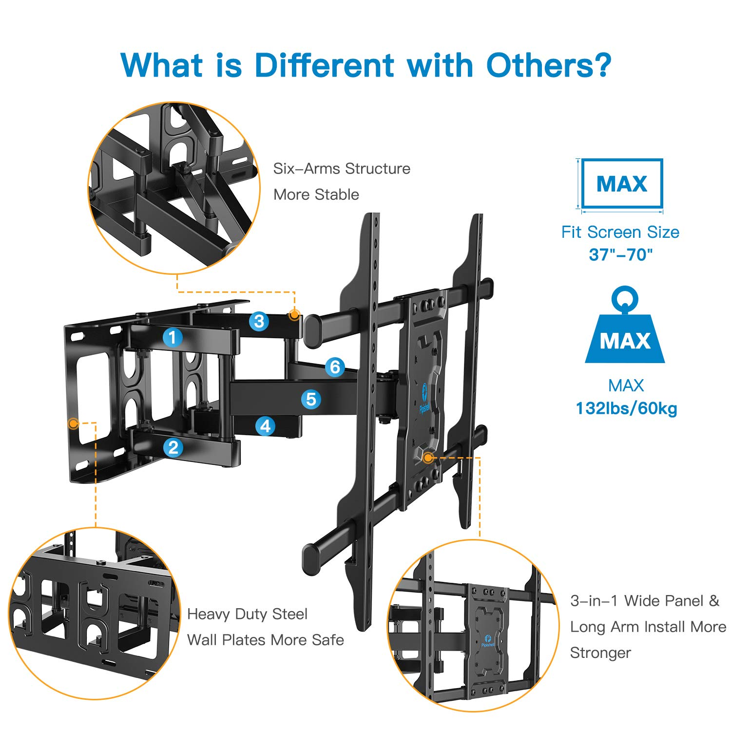 Full Motion TV Wall Mount Bracket Dual Articulating Arms Swivels Tilts Rotation for Most 37-70 Inch LED, LCD, OLED Flat&Curved TVs, Holds up to 132lbs, Max VESA 600x400mm by Pipishell by Pipishell (Image #3)