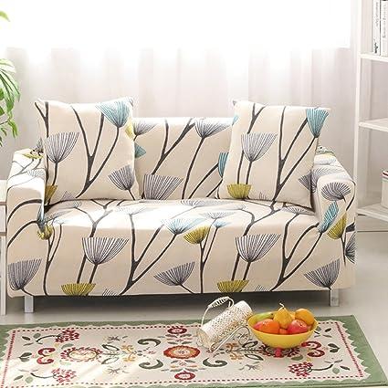 Hysenm - Funda de sofá de 1/2/3/4 plazas, cubre sofá ajustable, suave, elástico, colores auténticos de flores, tela, diente de león, 2 Sitzer ...