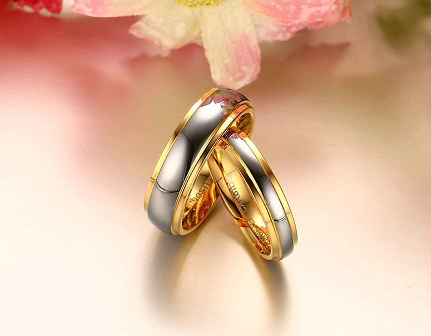 Aooaz Jewelry 2 Pcs Women Men Ring Stainless Steel Gold Rings for His and Hers /& Laser Engraving Free