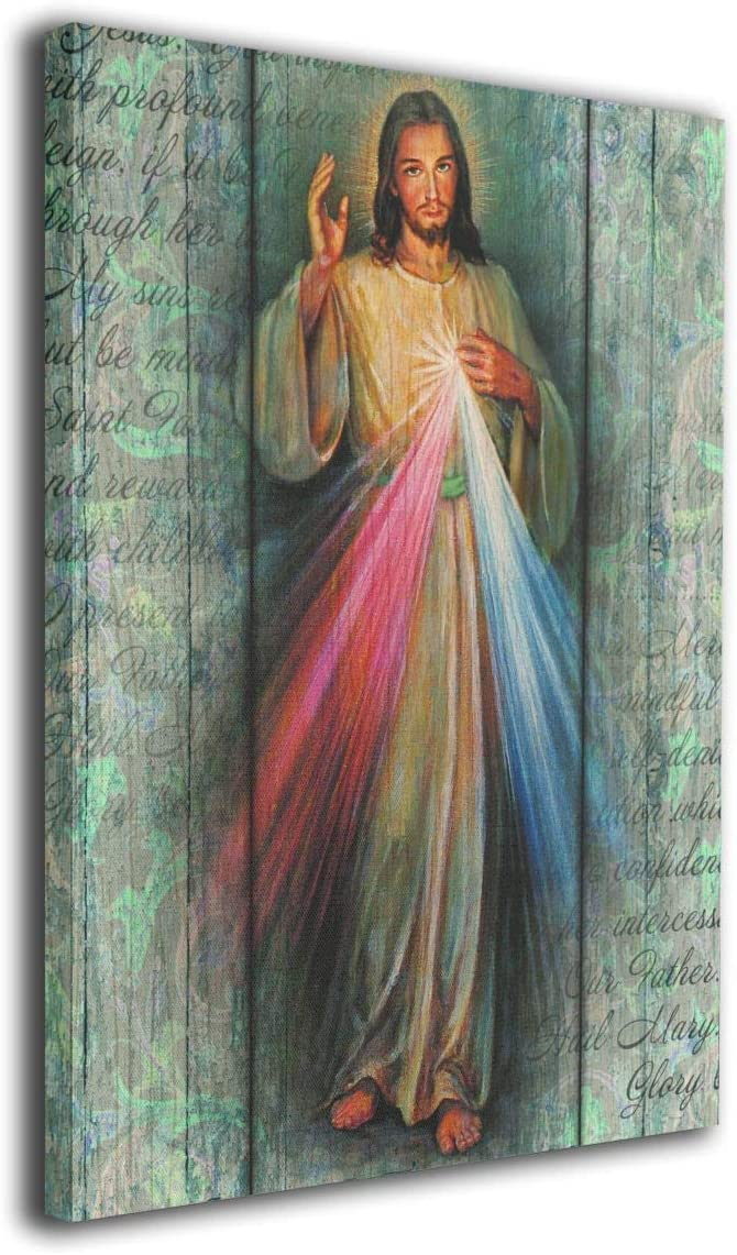 Arnold Glenn Rustic Divine Mercy Canvas Wall Art Prints Photo Modern Paintings Decorative Giclee Artwork Wall Decor Wood Frame Gallery Wrapped (White, 16