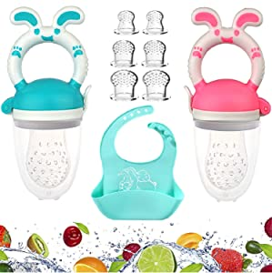 Baby Food Feeder, Fresh Food - 2 Pack Blue and Pink Fruit Feeder Pacifier, 6 Silicone Pacifiers | Silicone Baby Bibs for Babies & Toddlers | Baby Feeders Silicone