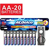 ACDelco Super Alkaline AA Batteries with Bonus LED Keychain Flashlight, 20-Count