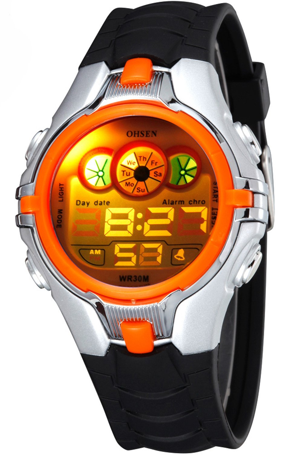 Digital Boys Children Sport Multifunction LED Back Light Black Rubber Waterproof Quartz Watch Orange