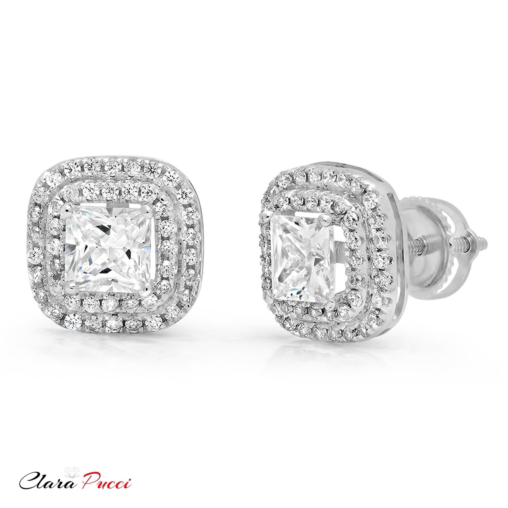 Clara Pucci 2.79 CT CZ Princess Cut SOLITAIRE Double HALO Stud EARRINGS Real 14K White GOLD by Clara Pucci (Image #2)