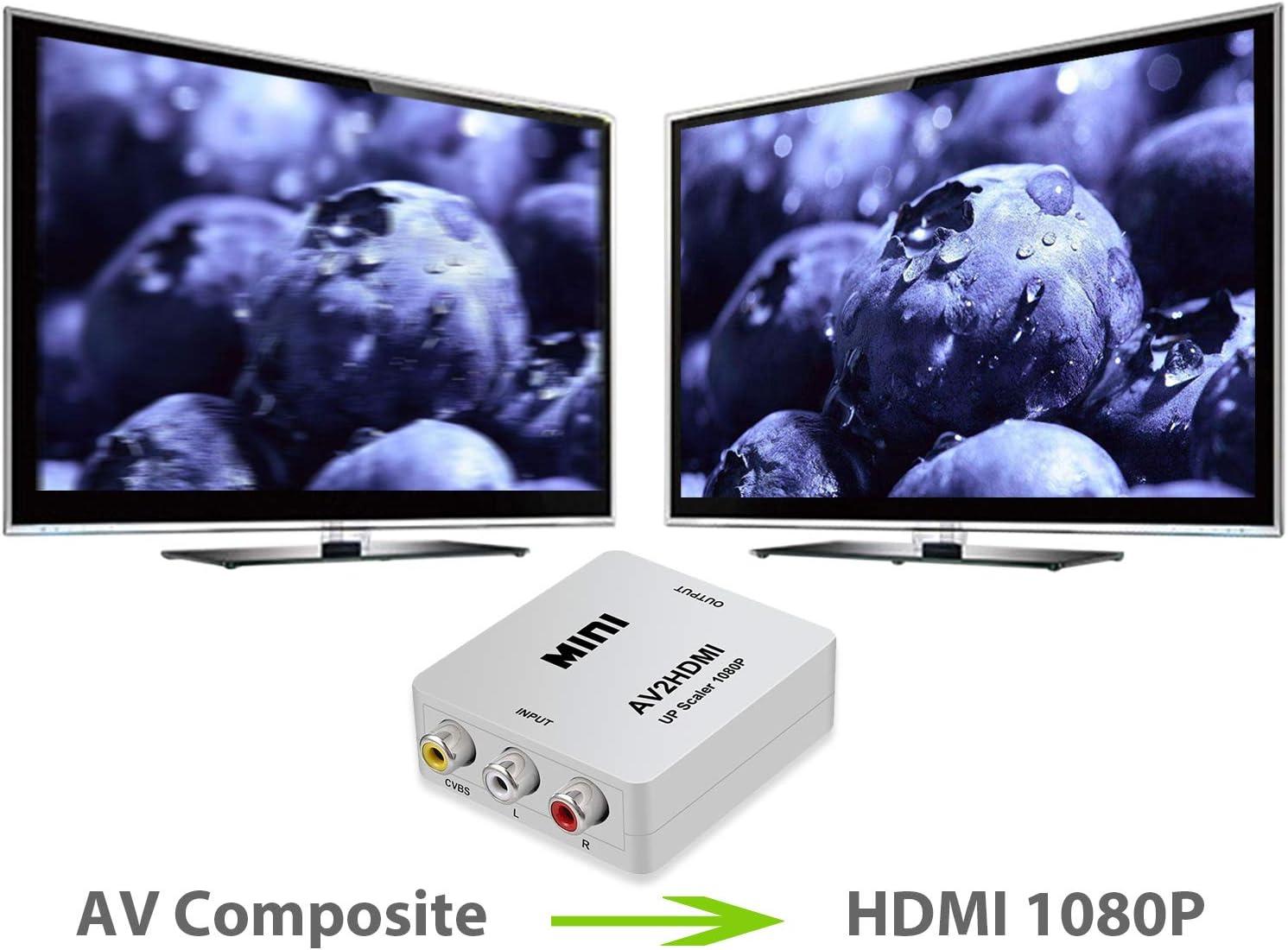AV RCA a HDMI Adaptador 1080p AV 3RCA CVBS Compuesto a HDMI Conversor de Audio y Video Compatible con PAL/NTSC con Cable de RCA para PC Laptop Xbox PS4 PS3 TV STB