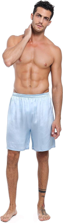 elastische Taille Lepton Maulbeerseiden Shorts f/ür M/änner Bequeme Sportbekleidung Vordertaschen