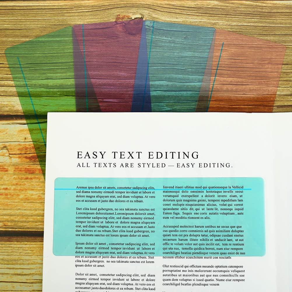 ADHD 8 tiras de lectura superpuestas transparentes de colores marcadores para ni/ños Opopark disleolog/ía reglas profesores