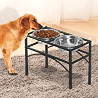 PaWz Dual Elevated Pet Dog Puppy Feeder Bowls Stainless Steel Food Water Stand