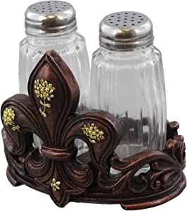 DeLeon Collections Fleur De Lis Salt and Pepper Shaker Set w/Glass Shakers - Tuscan Creole Decor