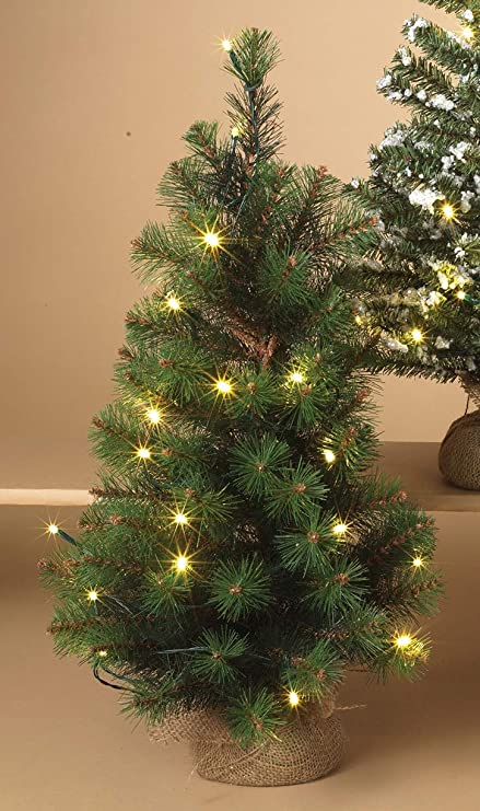 gerson 24in pre lit christmas holiday tree in burlap base white lights patio or tabletop - Pre Lit Christmas Trees On Sale