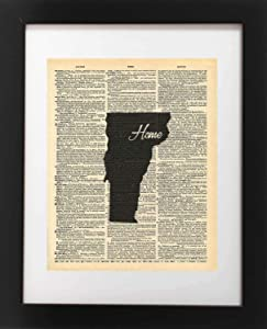 Vermont State Vintage Map Vintage Dictionary Print 8x10 inch Home Vintage Art Abstract Prints Wall Art for Home Decor Wall Decorations For Living Room Bedroom Office Ready-to-Frame Home