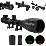 OTW Rifle Scope Red & Green Illuminated Mil-Dot Reticle Crosshair Scope with 20mm Picatiny Ring Mounts