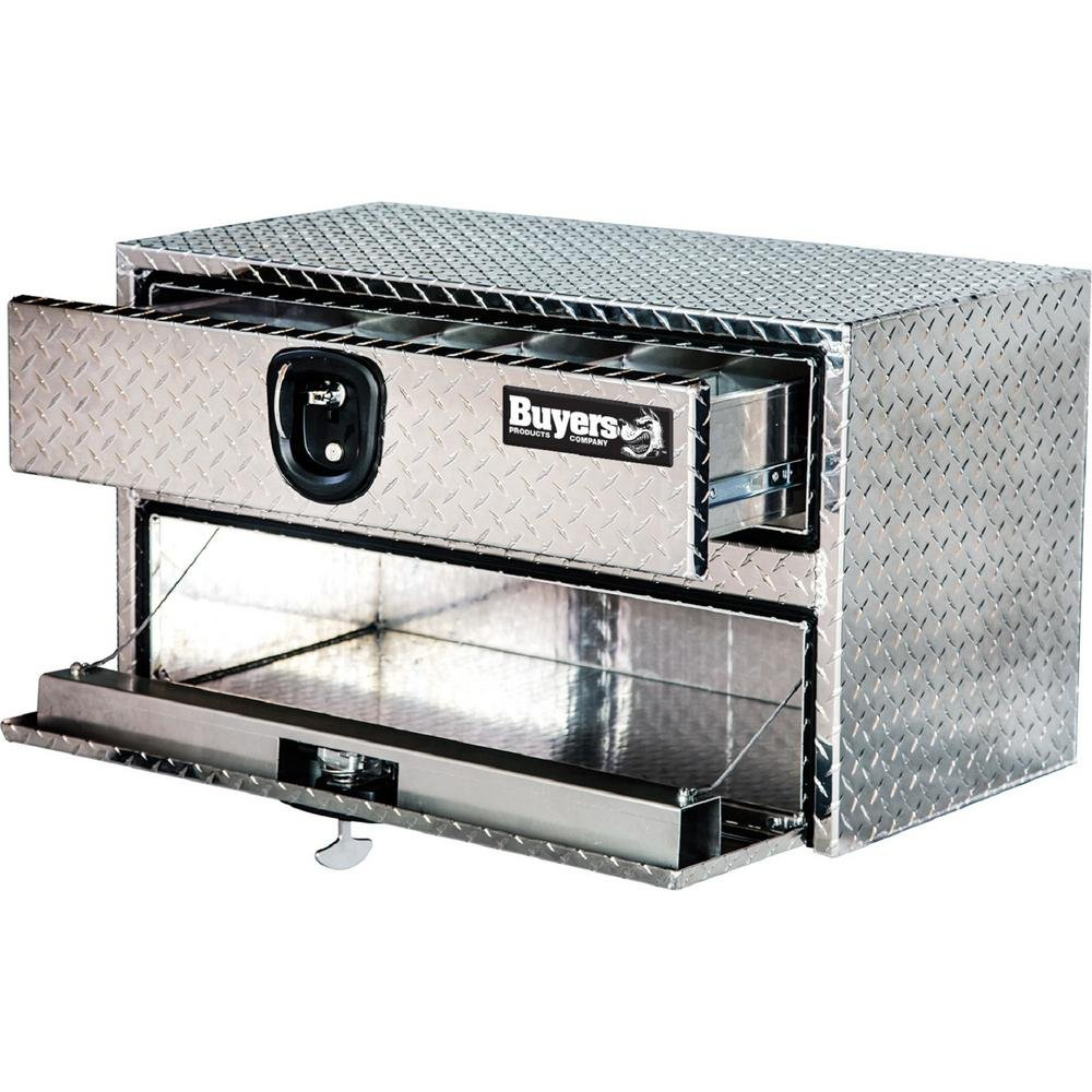 Buyers Products Company Diamond Tread Aluminum Underbody Truck Box with Drawer 20 in. x 18 in. x 24 in.