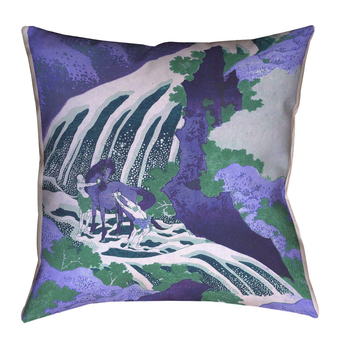 Waterproof and Mildew Proof Horse and Waterfall in Blue Pillow ArtVerse Katsushika Hokusai 16 x 16 Outdoor Pillows /& Cushions UV Properties