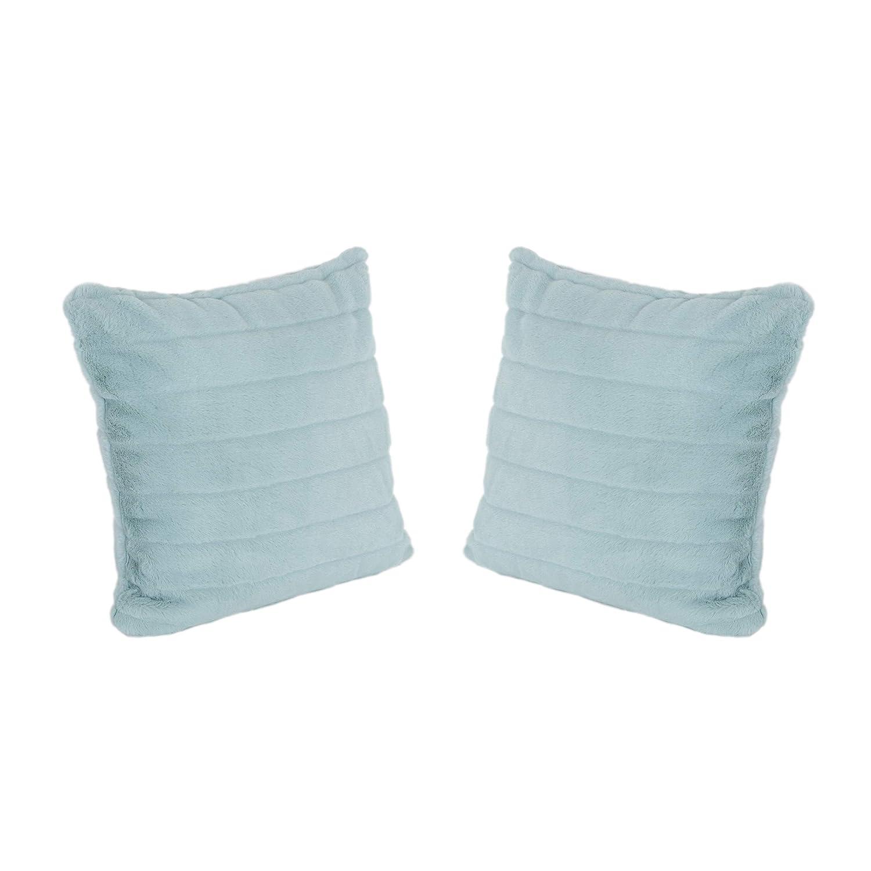 Great Deal Furniture Truda Glam フェイクファー ショートヘアピローカバーのみ (2個セット) ライトティール  B07MY3T3PG