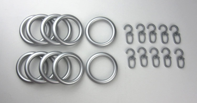 chrom matt lackiert Gardinenringe//Vorhangringe mit Faltenhaken 10 St/ück Kunststoff Ringe f/ür Gardinenstangen//Vorhangstangen /Ø 39 x 55 mm
