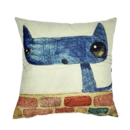 Joielavie Funda de cojín Funda de Almohada Cabeza del Gato Azul Animal Mignon Lino algodón Mezcla