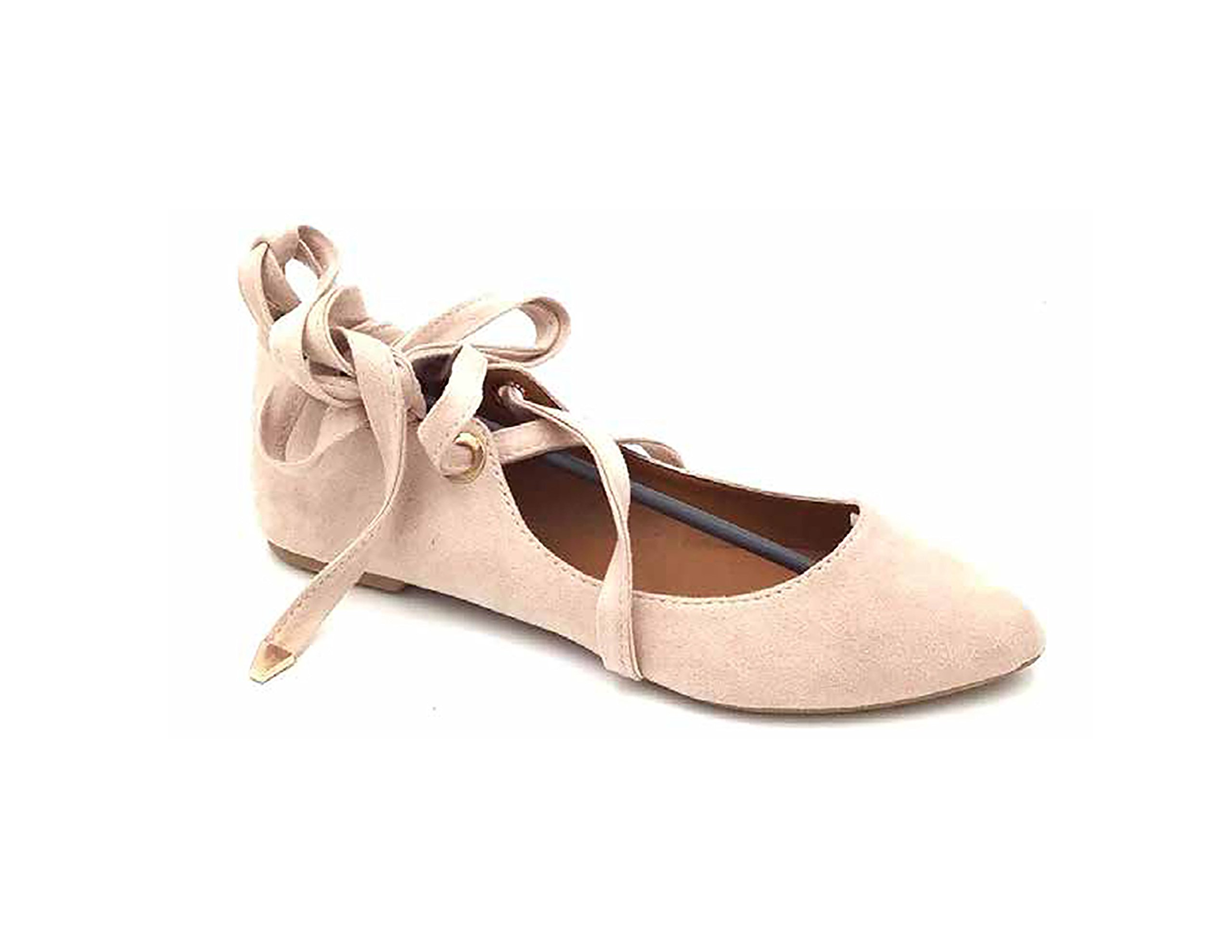 Women's Faux Suede Pointed Toe Ankle Strap Lace up Flat Ballerina Shoes (10, Tan)
