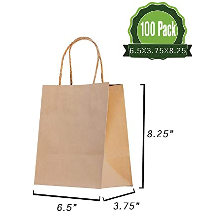 Amazon Brown Kraft Paper Gift Bags Bulk With Handles 100pc