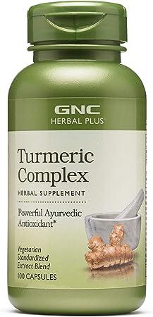 GNC Herbal Plus Turmeric Complex, 100 Capsules, Powerful Ayurvedic Antioxidant
