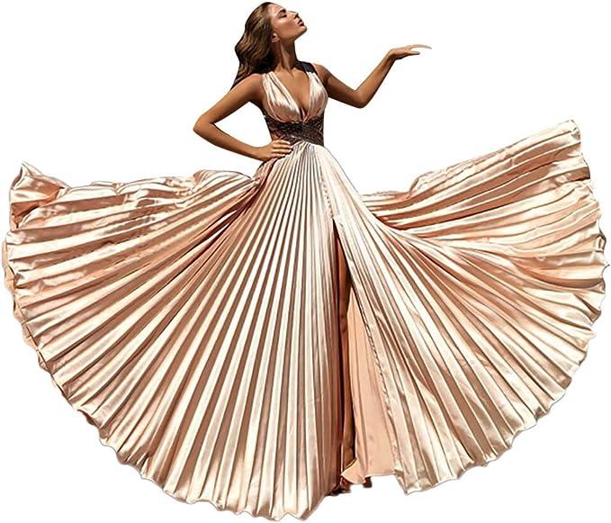 Amazon.com: Vestido de novia de mujer con cuello en V ...