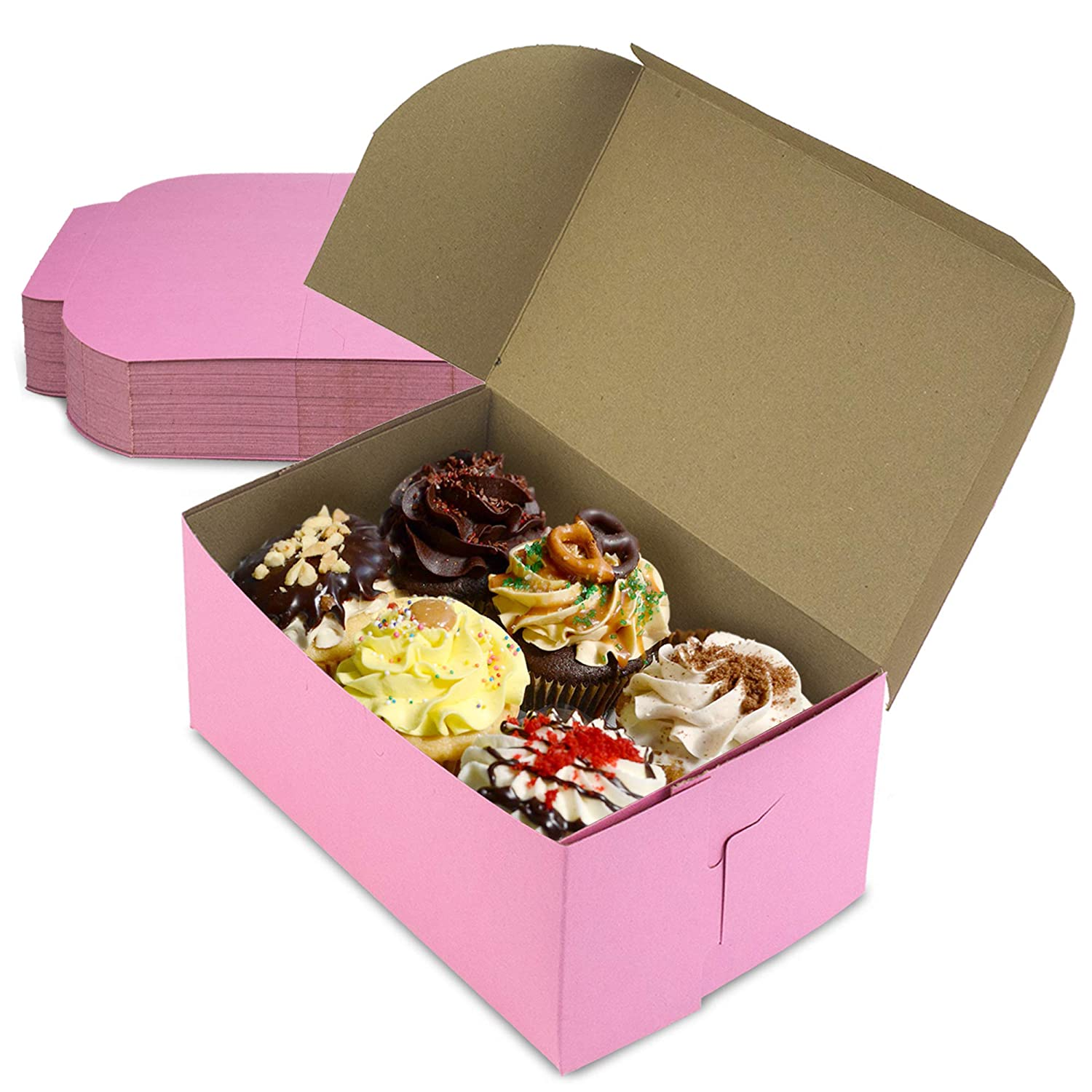 [25 Pack] Pink Bakery Boxes - 8 x 5 x 3.5 Inches Pink Cake Boxes - Pastry Box for Cupcakes, Desserts, Cookies, Candies - Ideal Packaging for Bakeries and Home-Made Baked Treats, Favors, and Gifts