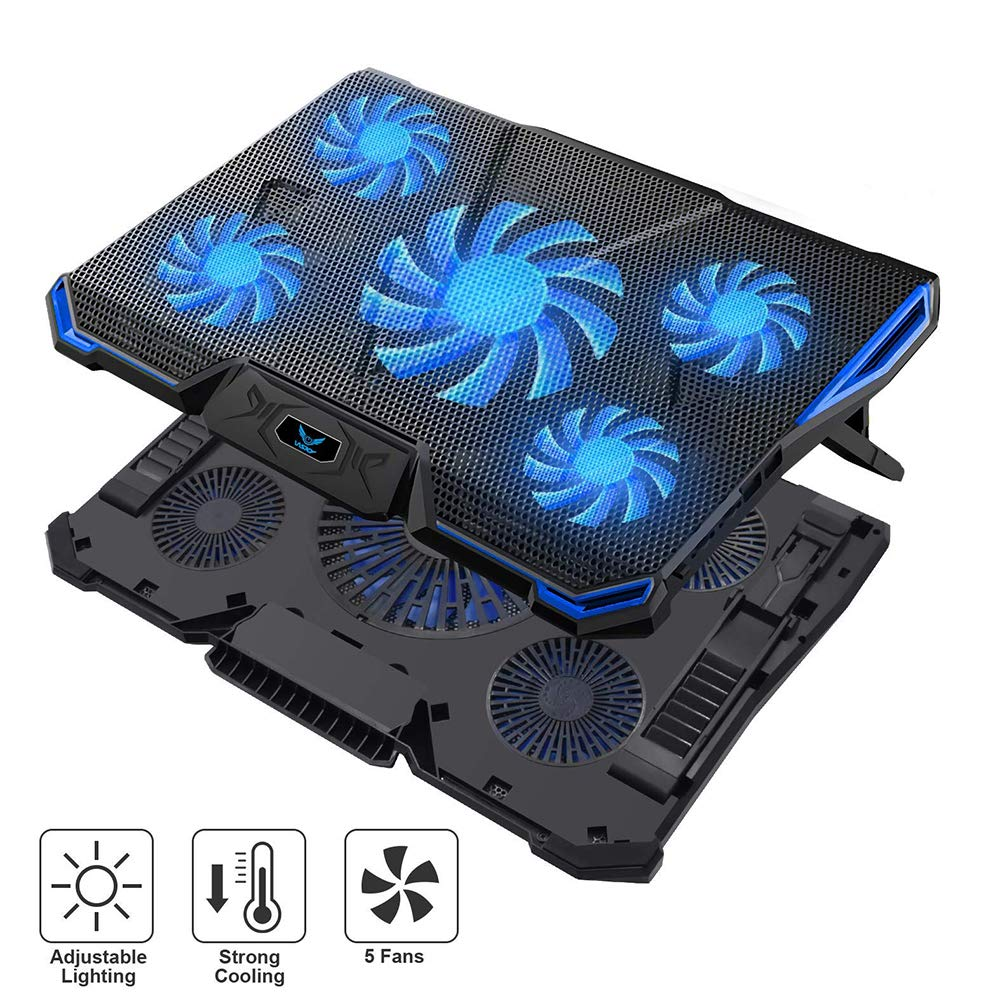 Wsky Laptop Cooler, Ultra Slim 12''-18'' inch Laptop Cooling Pad with 5 Quiet Fans and Blue LED Light, Dual 2 USB 2.0 Ports, Adjustable Mount Stand Height Angle