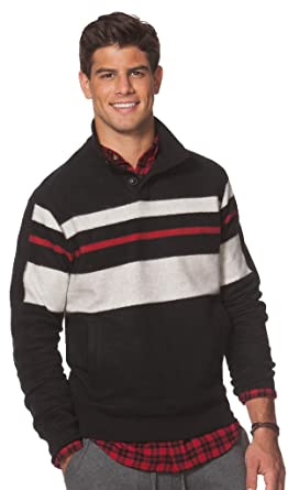 affca52c Chaps Men's Classic Fit Chest Striped Fleece Mockneck Long Sleeve Pullover  Shirt (Small, American