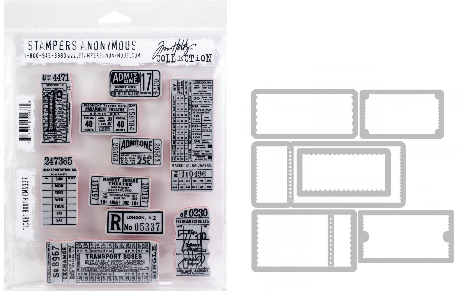 Tim Holtz Ticket Booth - Stampers Anonymous Cling Stamps and Sizzix Framelits Die Set