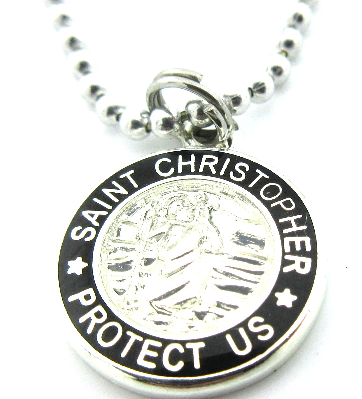 Get Back Supply Co Mini St Christopher Surf Medal Pendant Necklace SV/BK Silver/Black