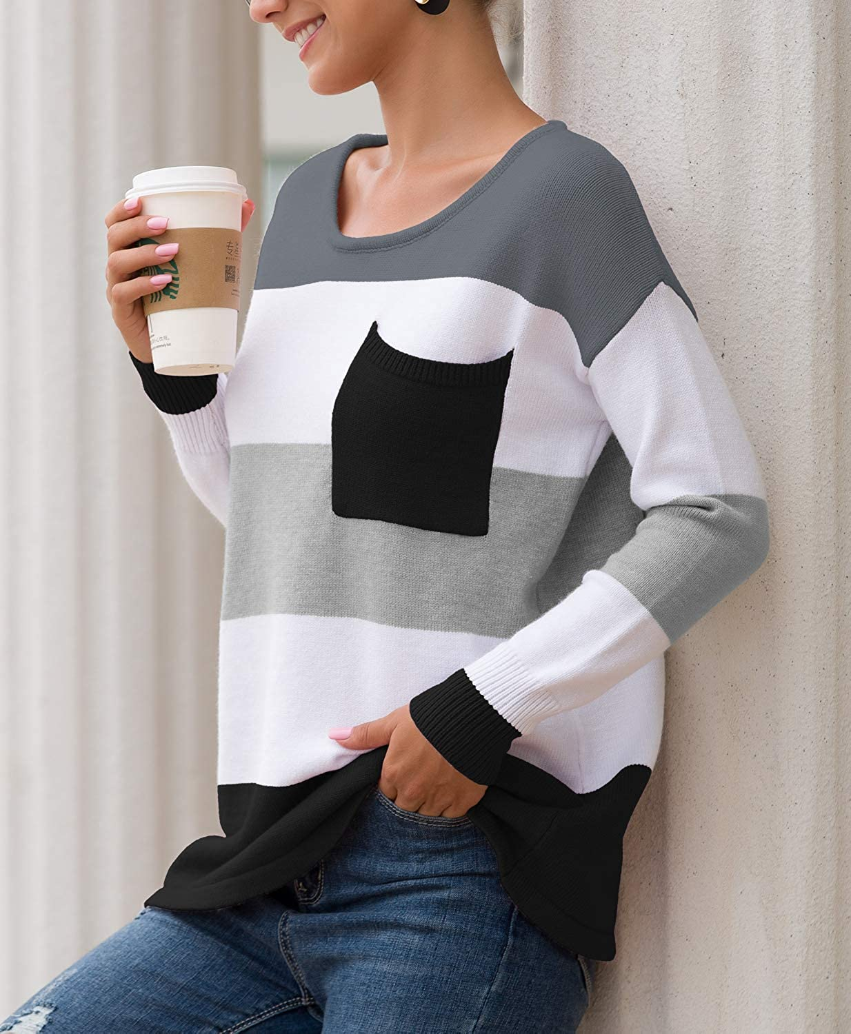 OYANUS Womens Casual Long Sleeve Striped Sweaters Color Block Crew Neck Loose Pullover Knit Jumper Tops