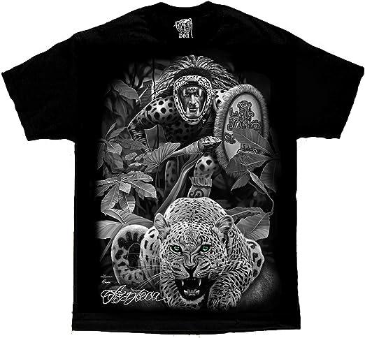 Camiseta de Manga Corta de David Gonzales DGA, diseño Tribal Azteca de Guepardo Guepardo Guepardo Chicano - Negro - Large: Amazon.es: Ropa y accesorios
