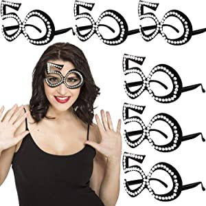50th Birthday Decorations - 50th Birthday Glasses - Number Crystal Frame, Party Favors, Funny Costume Sunglasses, Novelty Eyewear Celebration Decoration Perfect for 50th Birthday Gifts 6 Pack