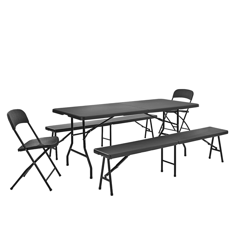 [casa.pro]® Tischgruppe mit 2 Stühlen und Bänken grau Sitzgarnitur Gartenmöbel Camping Set