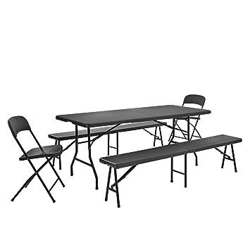 Casapro Tischgruppe Mit 2 Stühlen Und Bänken Grau Sitzgarnitur