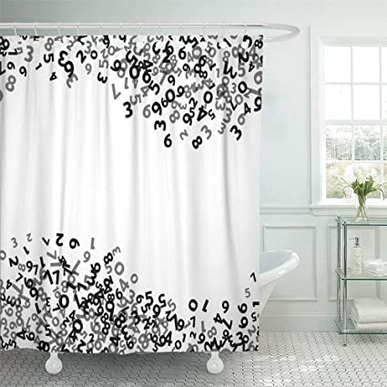 Shower Curtain 72x72 Inch Home Decor Random Abstract Math Number Black Border Layer Count School Report
