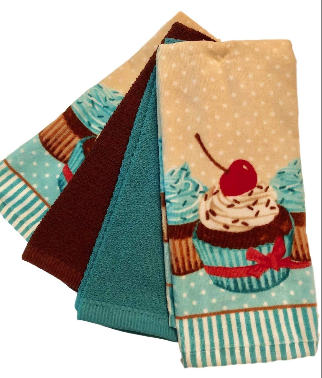 Essential Home 4-Pack Bundle Delightful Treats 100% Cotton Kitchen Dish Towel Set (Turquoise Cupcake)