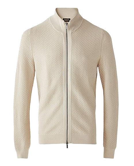 acbb942b8191 MASSIMO DUTTI Men's Cotton Cardigan with Interwoven Textured Weave 0909/301  (Medium)