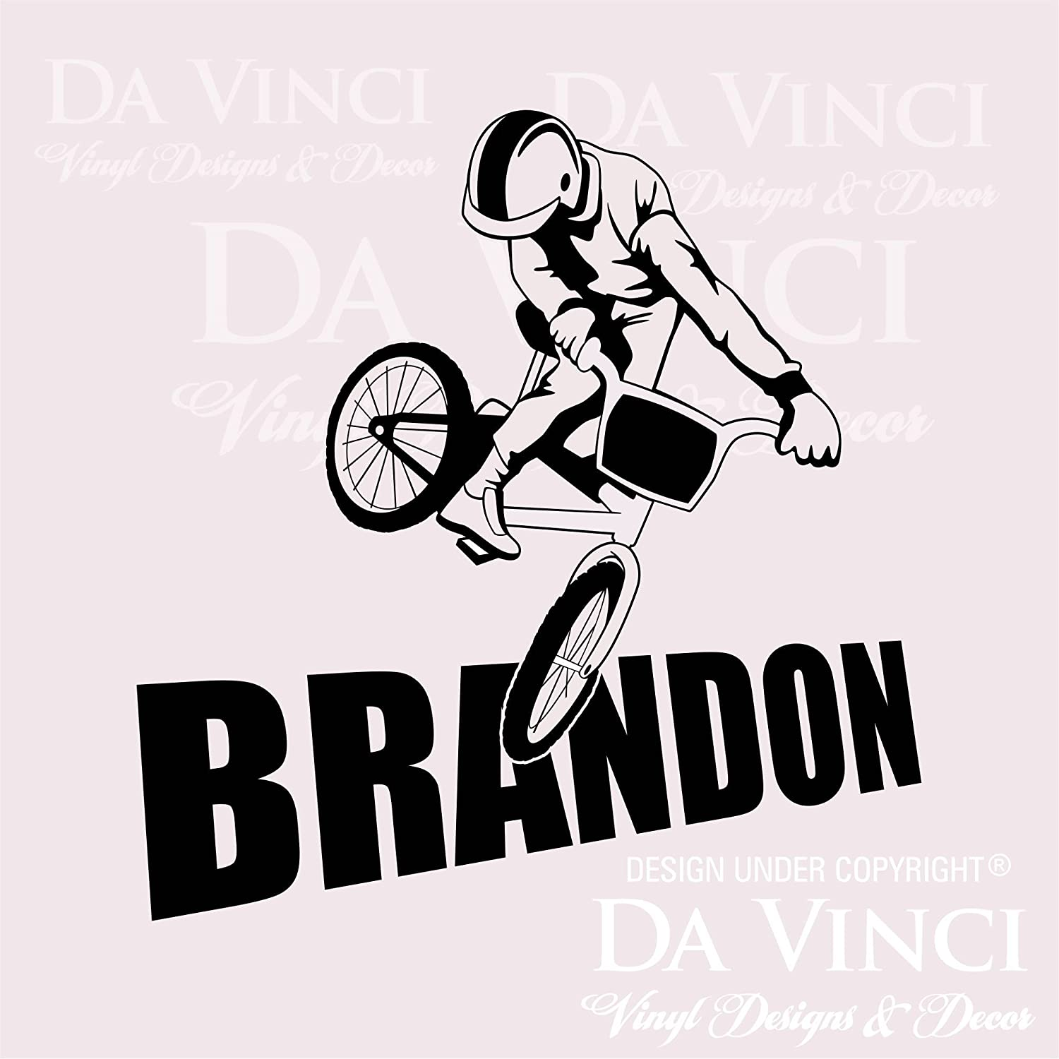 Amazon com bmx bike bikers wall room personalized custom boy name vinyl wall decal sticker large 22 x 22 home kitchen
