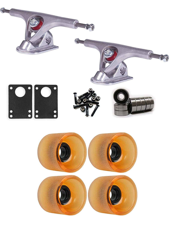 TGM スケートボード パリ ロングボード トラック ホイール パッケージ 68mm x 57mm 78A 144C オレンジクリア   B01IJ6CLGW