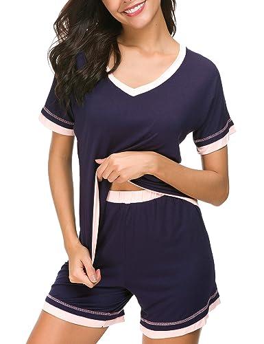 6ad759b783 Dolay Sleepwear Sets Women s V-Neck Pajama Short Set Soft Loungewear  Nightwear S-XXL at Amazon Women s Clothing store