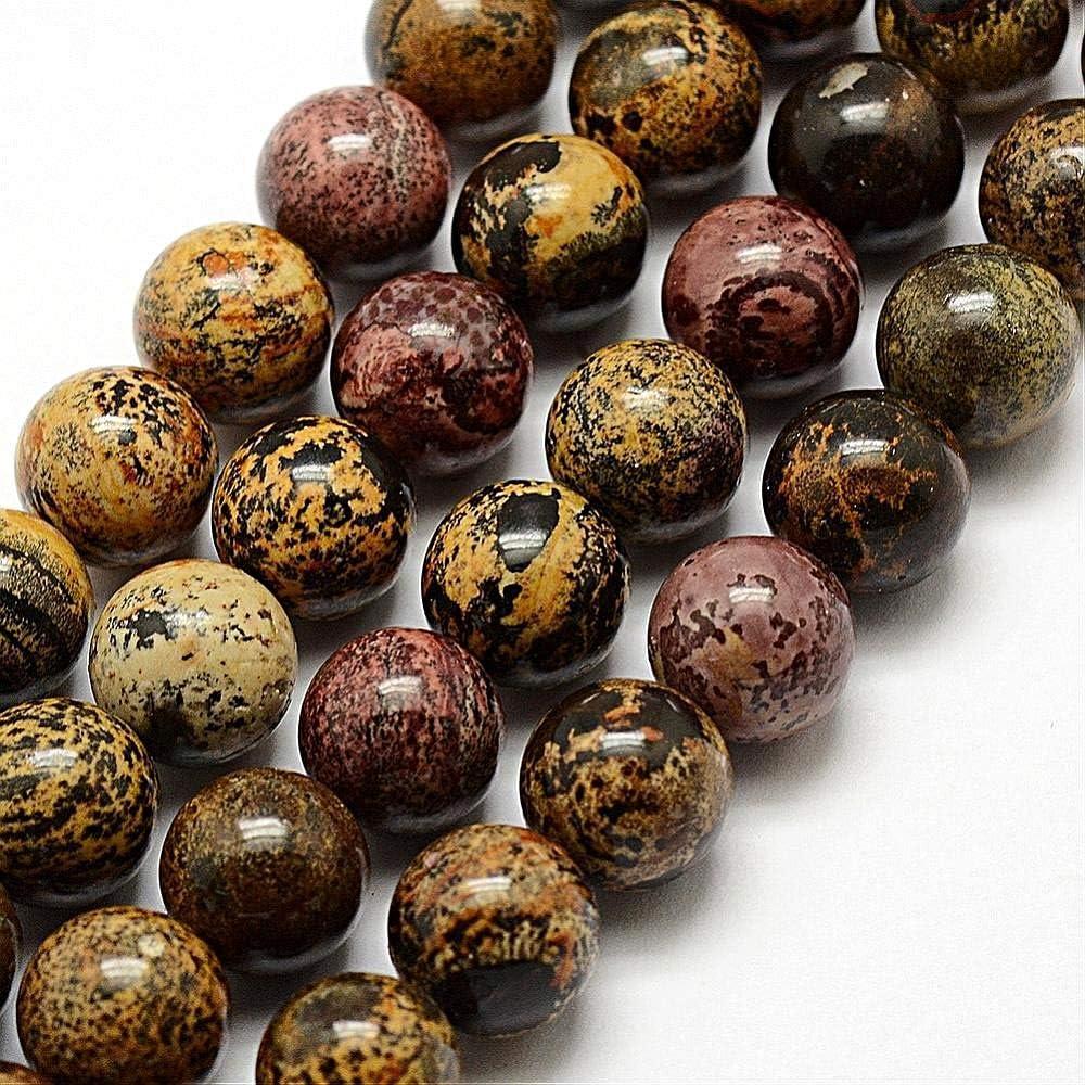 Perlas de Piedras Preciosas Naturales, Jaspe dendrico, ópalo Redondo, 6 mm, marrón, Negro, Joyas de Piedra, Joyas de diseño, Manualidades, G325