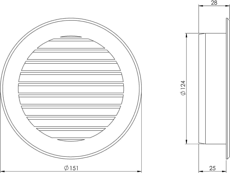 /Ø 125mm Braun L/üftungsgitter Abluftgitter Insektenschutz Rund Flansch