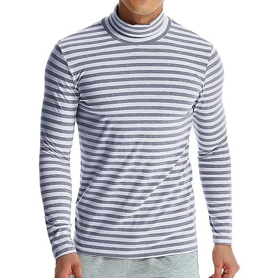 Camiseta de Hombre de Manga Larga con Cuello Alto de Rayas Blusa Top de otoño Invierno