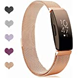 """Sport Watch Wristband for Fitbit Inspire Bands and Fitbit Inspire HR Band Stainless Steel Metal Strap Bracelet Loop Replacement for Women Men, Rose Gold(5.1"""" - 8.5"""")"""