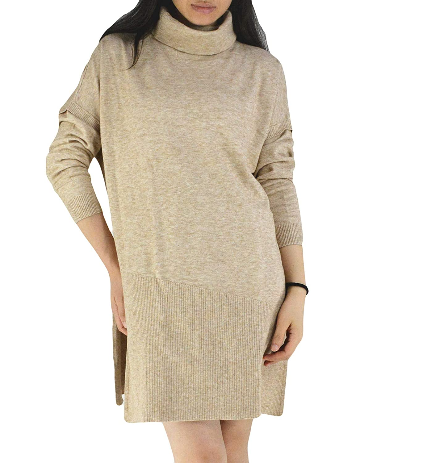 YSJERA Women s Oversized Loose Turtleneck Long Sleeves Pullover Knit Sweater  Top Shirts Beige at Amazon Women s Clothing store  e20ae81ac