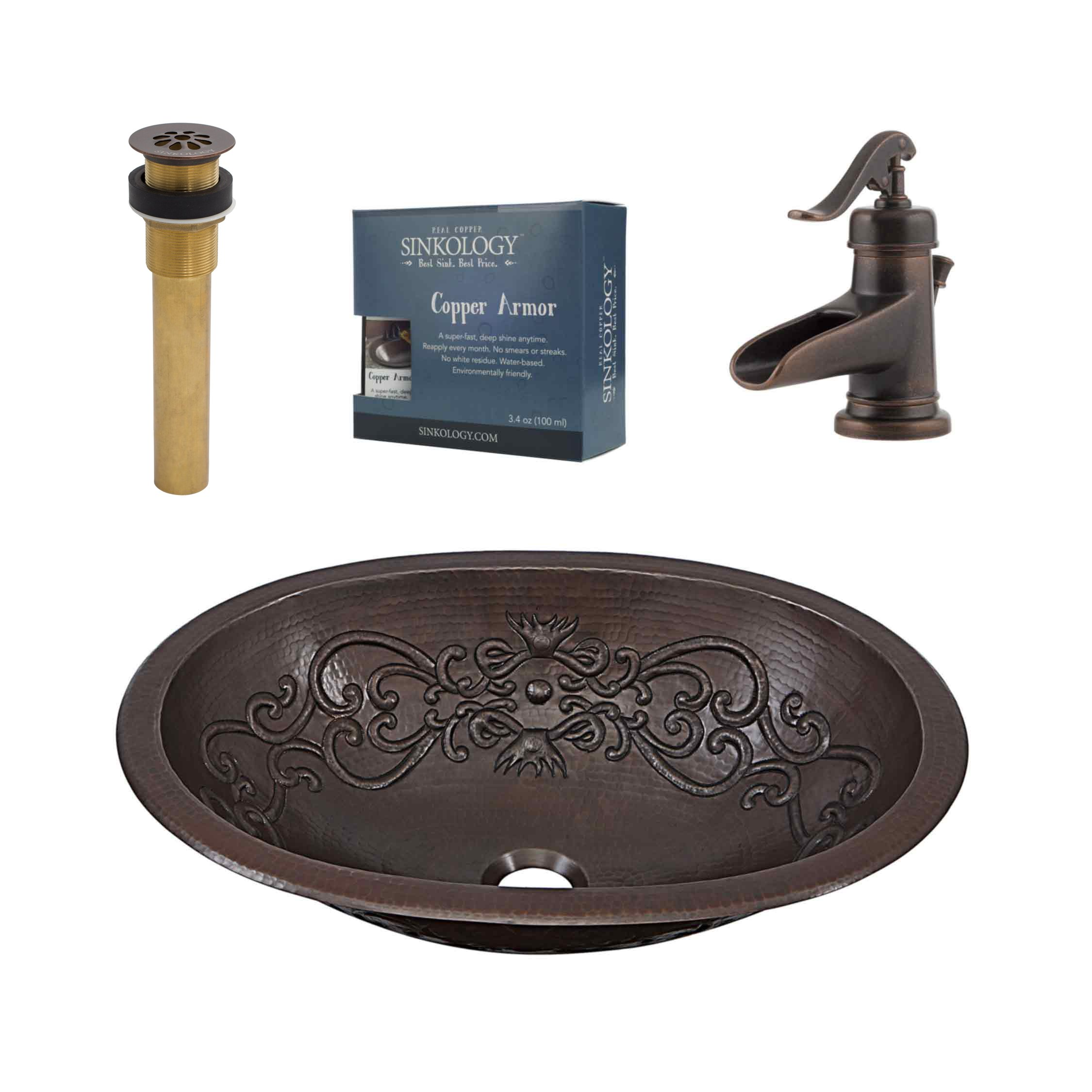 Sinkology SB202-19SC-F042 Pauling & Ashfield All-in-One Copper Bathroom Sink Design Kit with Pfister Rustic Bronze Faucet and Drain